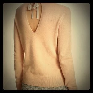 Theory cashmere sweater back ribbon detail